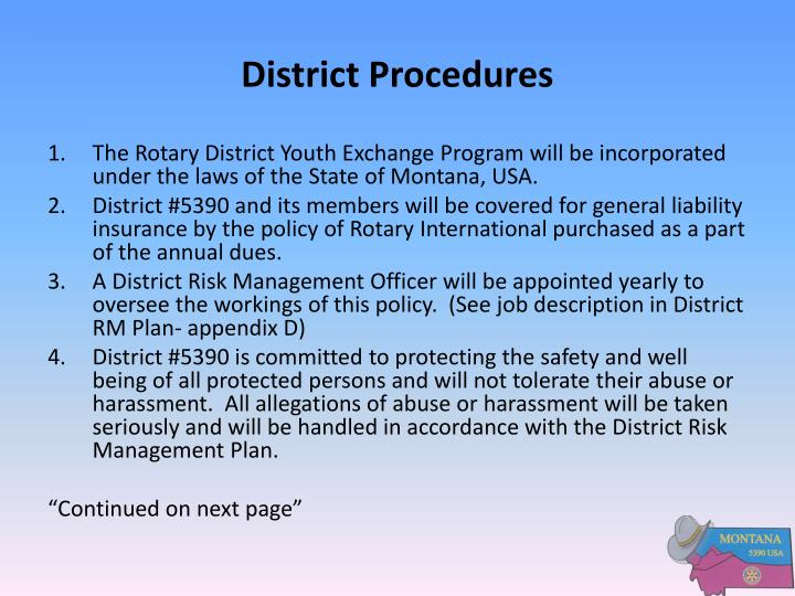 District Procedures
