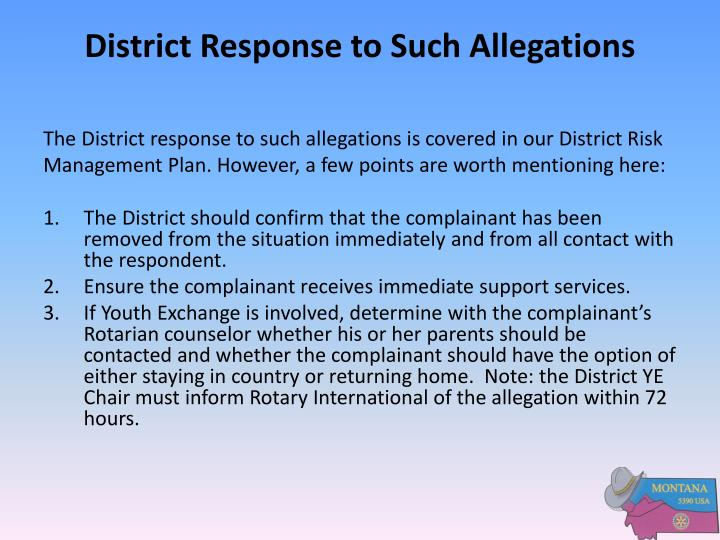 District Response to Such Allegations