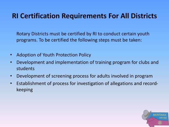 RI Certification Requirements For All Districts
