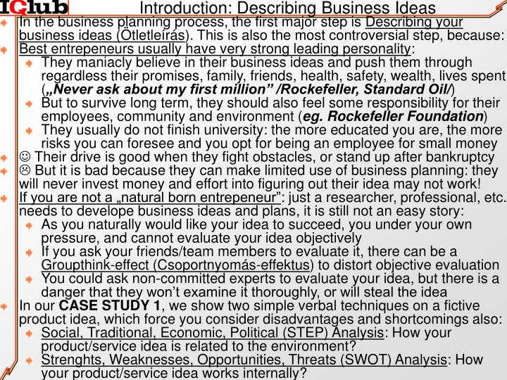 Introduction: Describing Business Ideas
