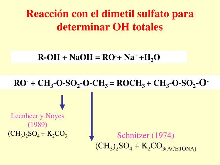 Reacción con el dimetil sulfato para