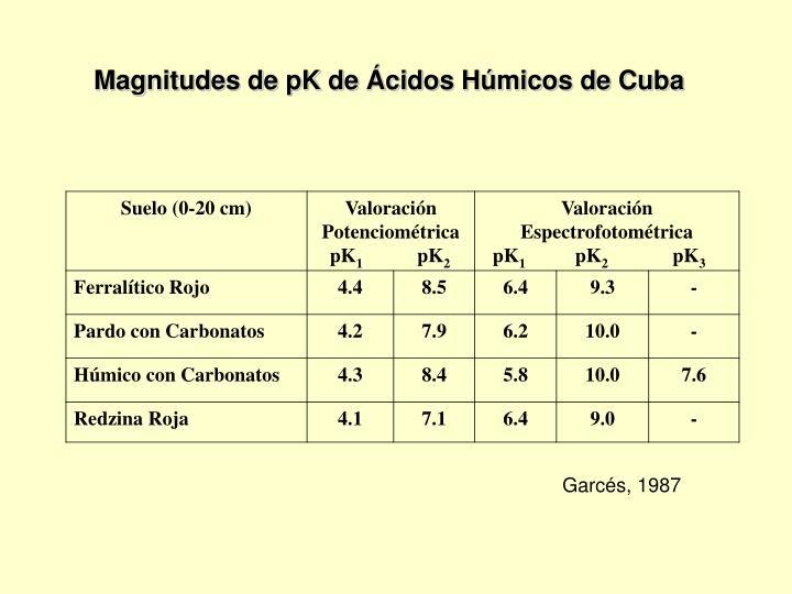 Magnitudes de pK de Ácidos Húmicos de Cuba