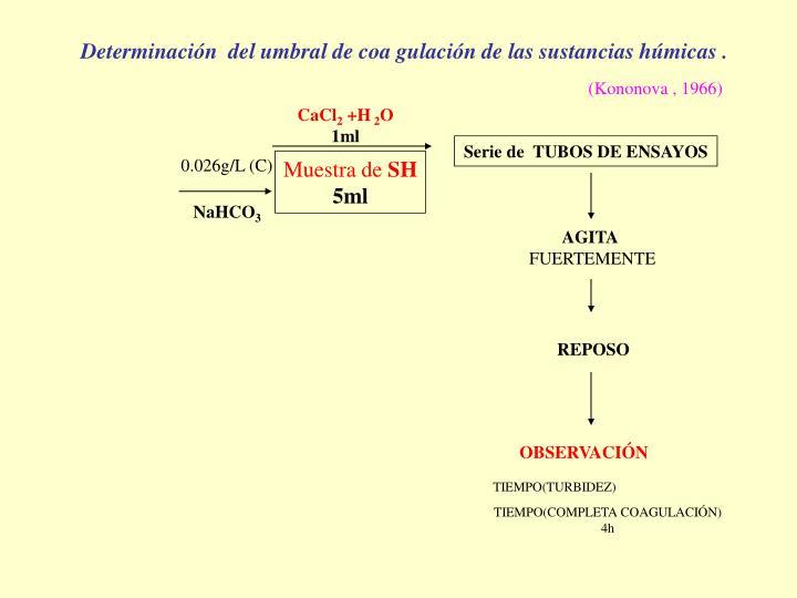 Determinación  del umbral de coa gulación de las sustancias húmicas .