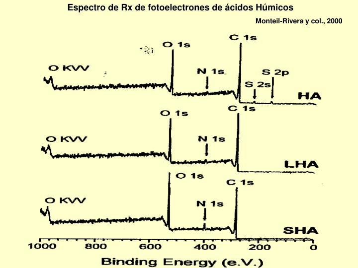 Espectro de Rx de fotoelectrones de ácidos Húmicos