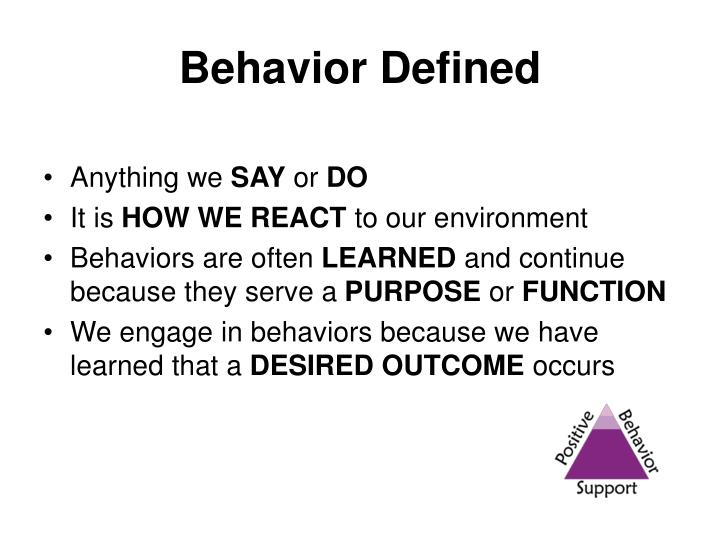 Behavior Defined