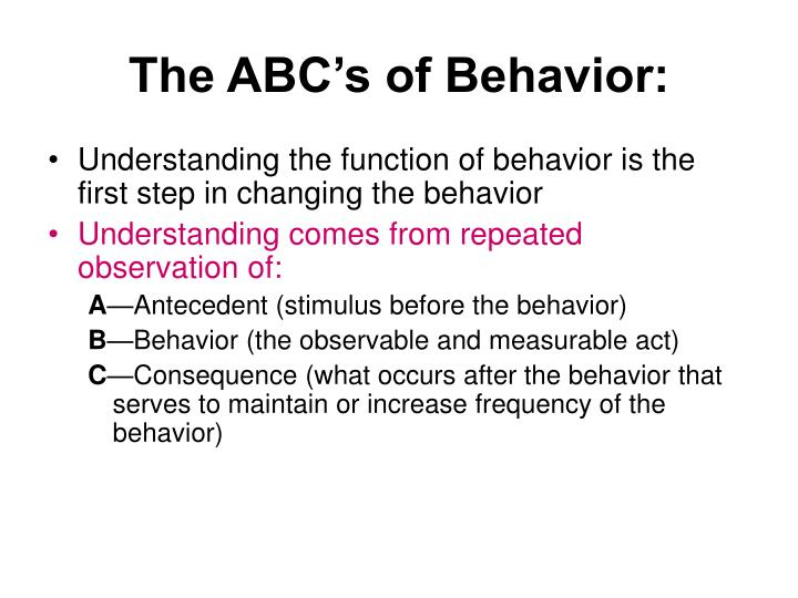 The ABC's of Behavior: