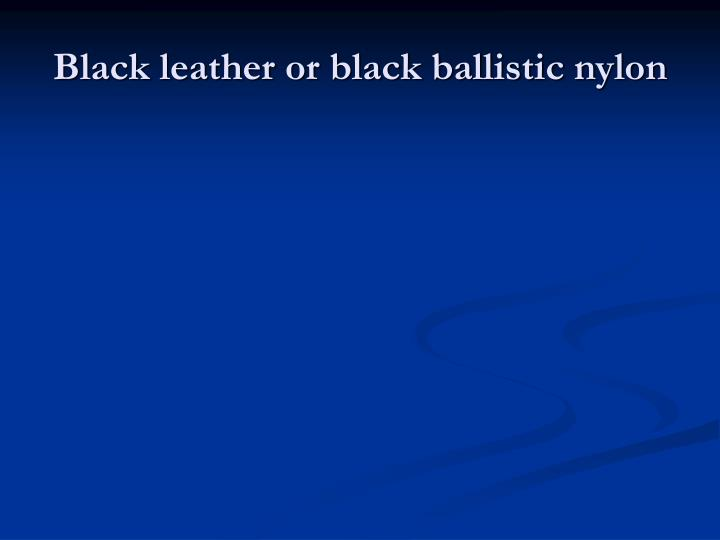 Black leather or black ballistic nylon