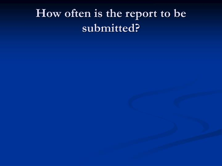 How often is the report to be submitted?