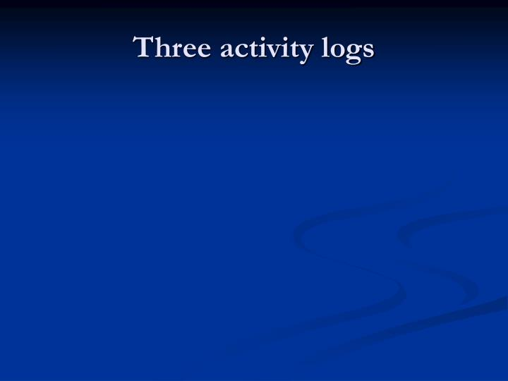 Three activity logs