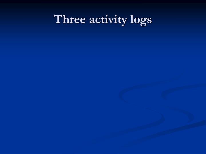 Three activity logs