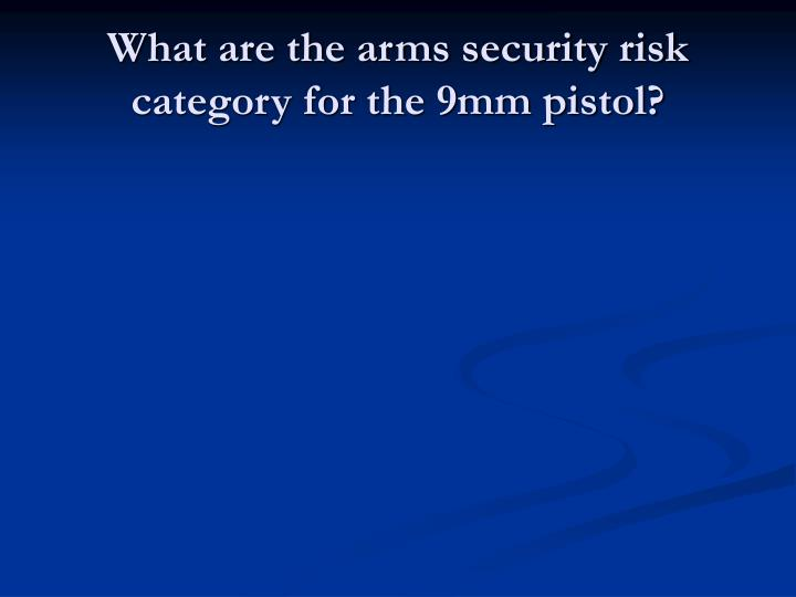 What are the arms security risk category for the 9mm pistol?