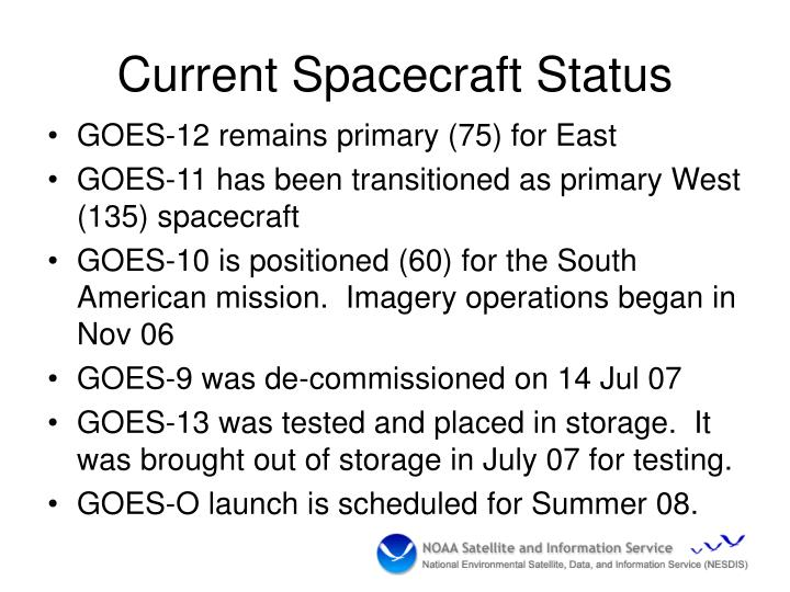 Current Spacecraft Status