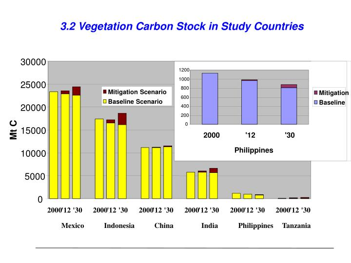 3.2 Vegetation Carbon Stock in Study Countries