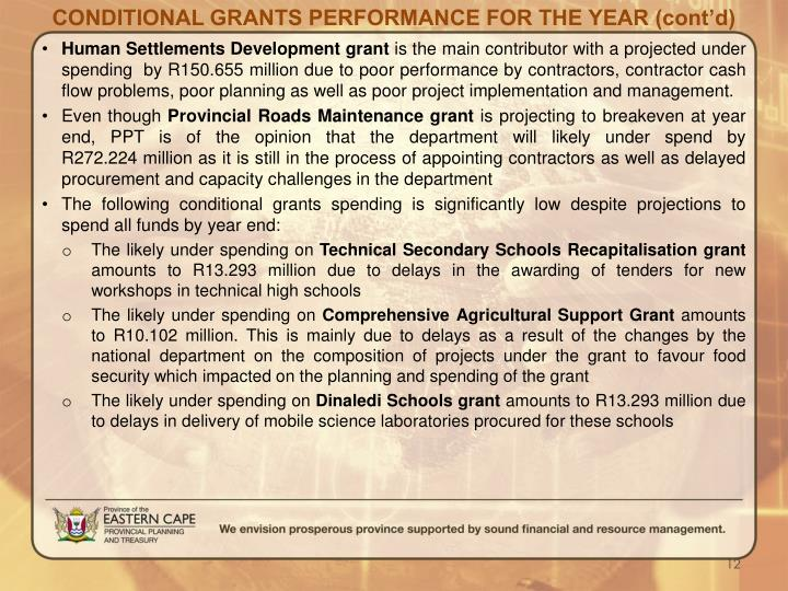 CONDITIONAL GRANTS PERFORMANCE FOR THE YEAR (cont'd)
