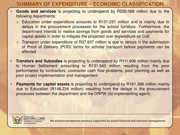 SUMMARY OF EXPENDITURE – ECONOMIC CLASSIFICATION