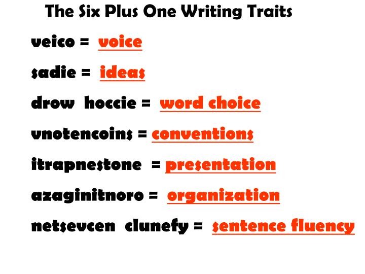 six plus one writing traits Six plus one writing traits idea organization voice word choice sentence fluency conventions presentation idea ideas make up the content of the piece of the.