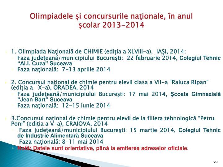 Olimpiadele și concursurile naţionale, în anul şcolar 2013-2014