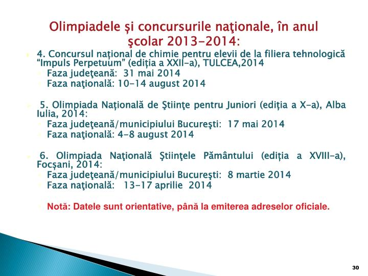 Olimpiadele și concursurile naţionale, în anul