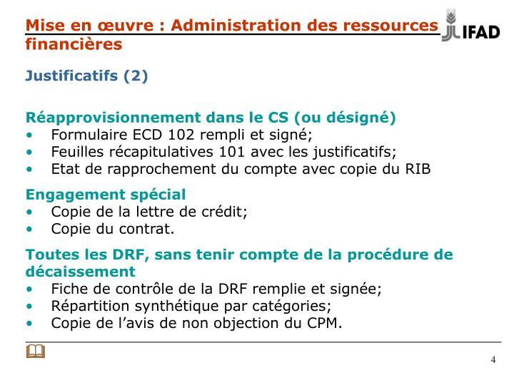 Mise en œuvre : Administration des ressources financières
