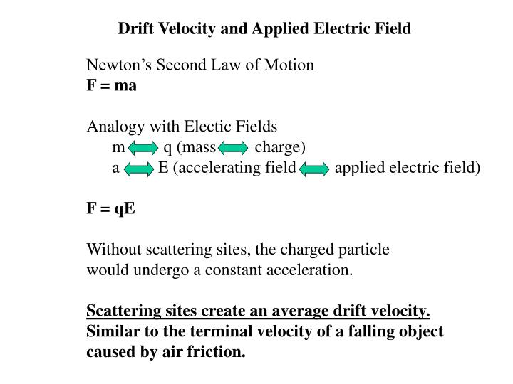 Drift Velocity and Applied Electric Field
