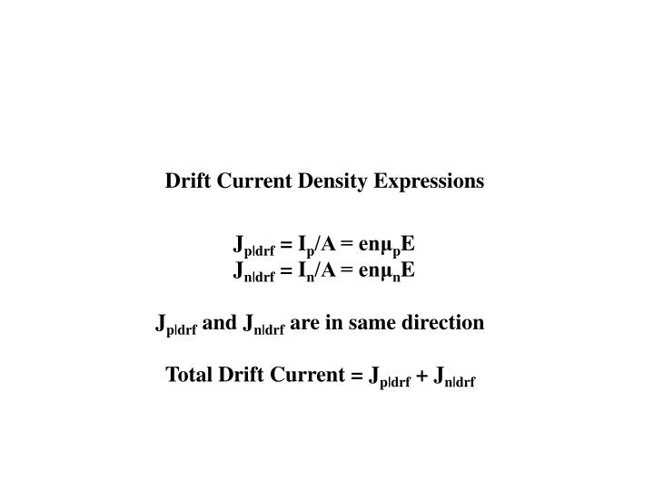 Drift Current Density Expressions