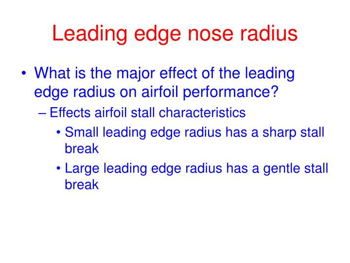 Leading edge nose radius