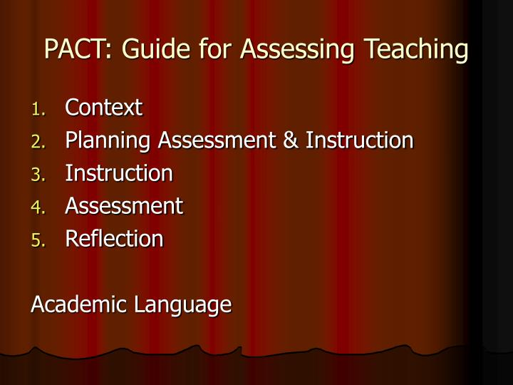 PACT: Guide for Assessing Teaching