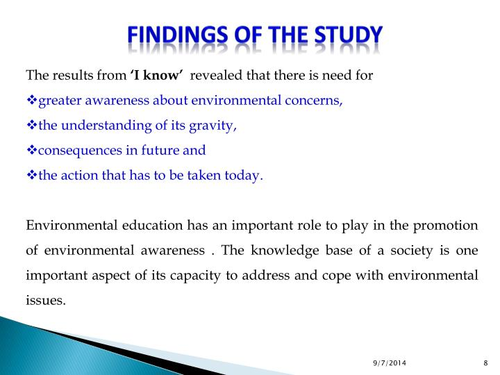 Findings of the Study