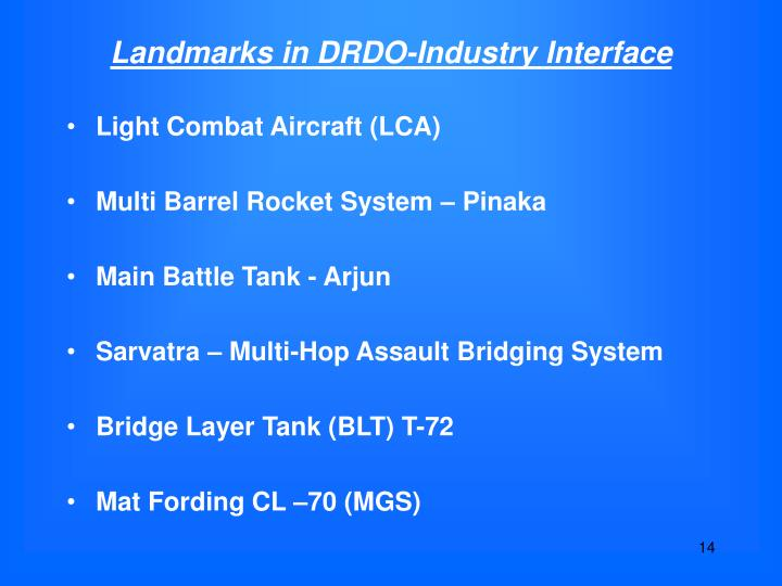 Landmarks in DRDO-Industry Interface
