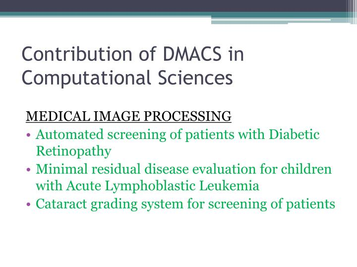 Contribution of DMACS in Computational Sciences