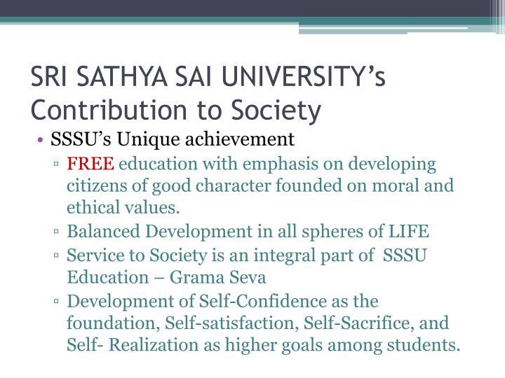SRI SATHYA SAI UNIVERSITY's Contribution to Society