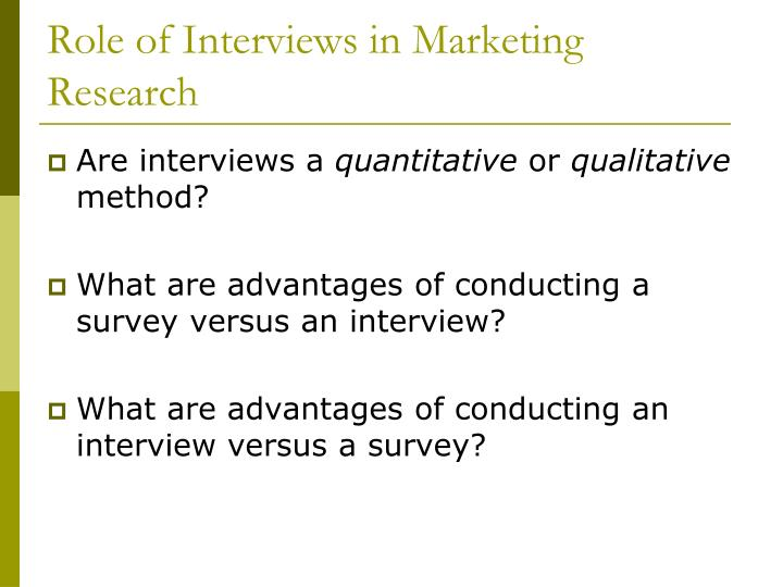 Role of Interviews in Marketing Research