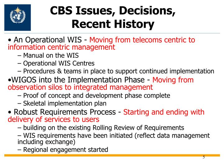 CBS Issues, Decisions, Recent History