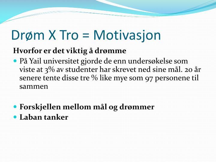 Drøm X Tro = Motivasjon