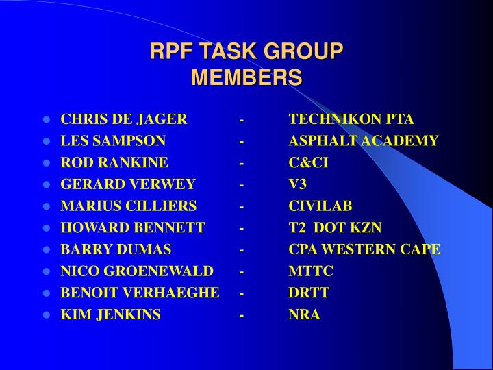 RPF TASK GROUP