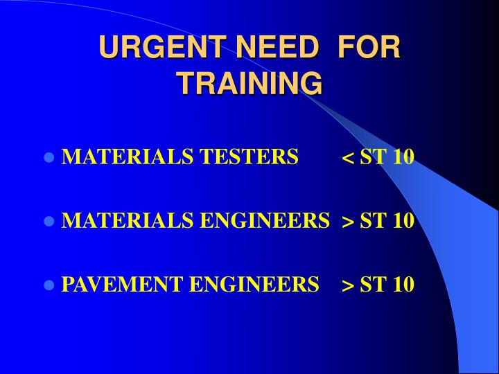 URGENT NEED  FOR  TRAINING