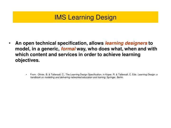 Ims learning design