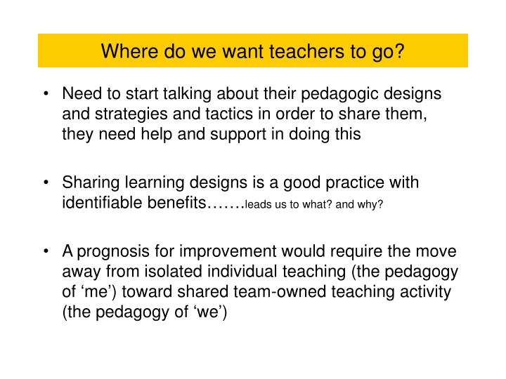 Where do we want teachers to go?