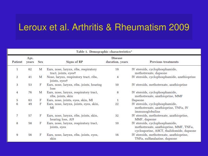 Leroux et al. Arthritis & Rheumatism 2009