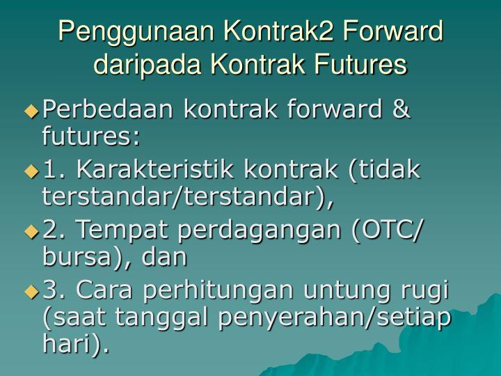 Penggunaan Kontrak2 Forward daripada Kontrak Futures