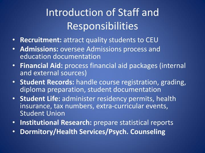 Introduction of Staff and Responsibilities