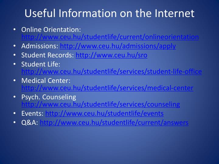 Useful Information on the Internet