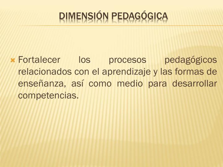 Fortalecer los procesos pedagógicos relacionados con el aprendizaje y las formas de enseñanza, así como medio para desarrollar competencias.
