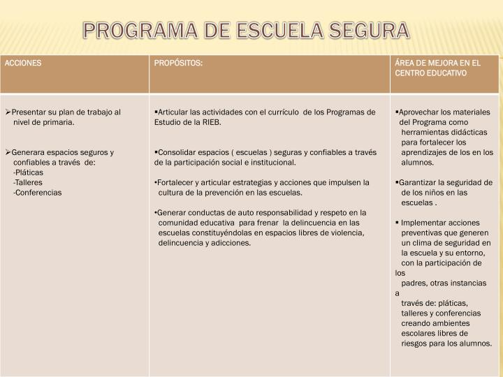 PROGRAMA DE ESCUELA SEGURA