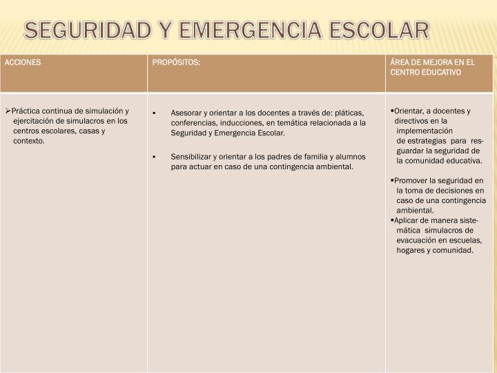 SEGURIDAD Y EMERGENCIA ESCOLAR