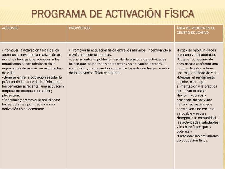PROGRAMA DE ACTIVACIÓN FÍSICA