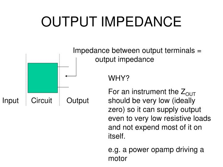 Impedance between output terminals =    output impedance
