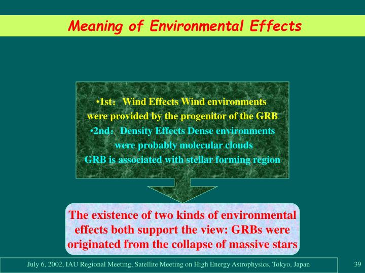 Meaning of Environmental Effects