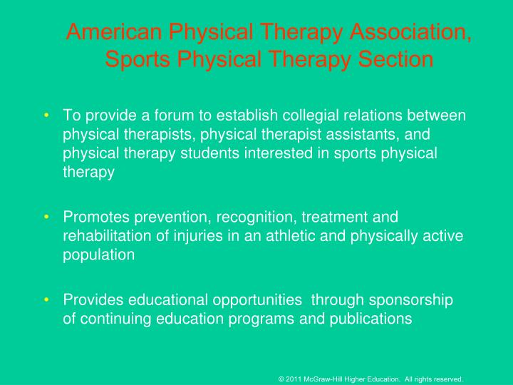 American Physical Therapy Association, Sports Physical Therapy Section