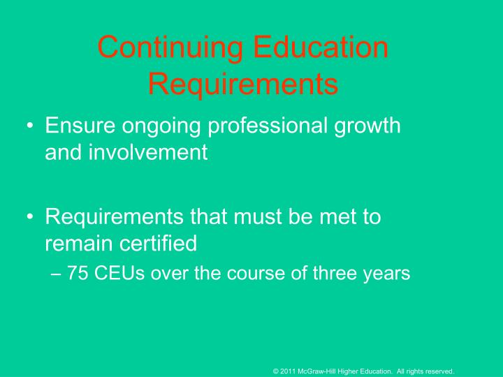 Continuing Education Requirements